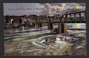ME View Falls WATERVILLE MAINE Moonlight POSTCARD