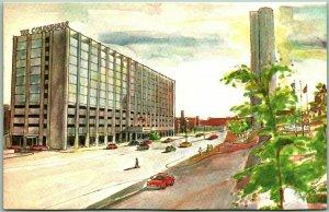 Boston, Massachusetts Postcard COLONNADE HOTEL Artist's Street View c1960s