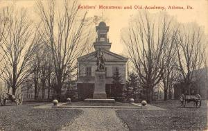 Athens Pennsylvania Soldiers Monument Old Academy Antique Postcard K81501