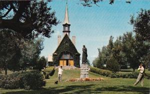Canada Nova Scotia Church Of Saint Charles And Statue Of Evangeline Grand Pre