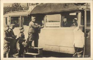German Field Post Office in Bus & Troops WWI Era? Real Photo Postcard dcn