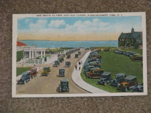 THE DRIVE AT NEW & OLD CASINO, NARRAGANSETT PIER, R.I., USED VINTAGE CARD