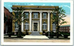 LaGrange, Georgia Postcard CITY HALL Building, Street View Kropp w/ 1941 Cancel