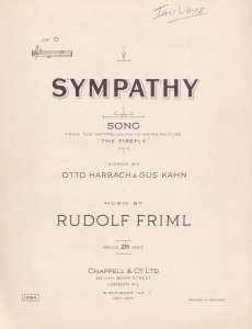 Sympathy Song Rudolf Friml The Firefly 1950s Sheet Music