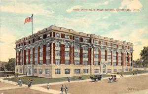 Cincinnati Ohio~New Woodward High School Building~People xing Street~c1910 Pc