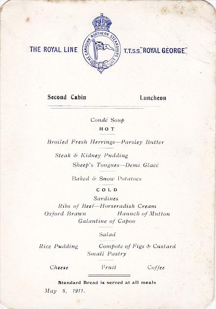 Canadian Northern Steamship S S Royal George Second Cabin Luncheon Menu May 5...