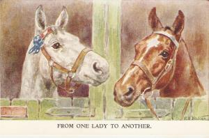 F.E.Valter. Horses. From one lady to another Lovely Valentine Postcard
