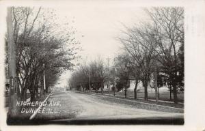 West Dundee IL~Telephone Pole & Homes nr the Corner @ Highland & Kane~RPPC 1909