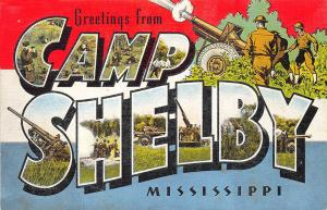 Camp Shelby MS Army Base E. C. Kropp Large Letter Linen Postcard