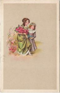 Girls with flowers - art postcard 01.26