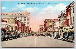 Chattanooga TN~Market Street~Dixie Hwy~Maypole Cafeteria~Dan Cohen Store~1940