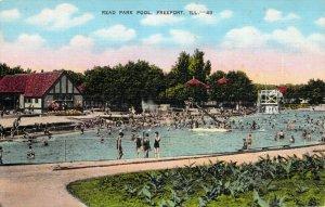 Read Park Pool Freeport Illinios IL Bathers Swimming Linen Postcard Unused