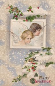 CHRISTMAS; Angels faces, Snow fall over pine tree branches, Sparrow Birds, PU...