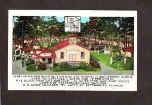 FL Lowe's Lowes Camp Ground Cabins St Petersburg Florida Postcard