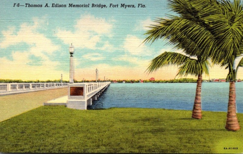 Florida Fort Myers Thomas A Edison Memorial Bridge Curteich