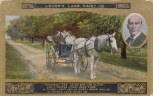 Romantic Couple In Carriage Lover's Lane Saint Jo Card No 4