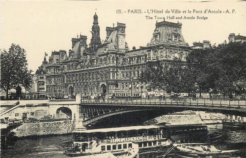 CPA France Paris Town Hall Arcole Bridge ships navigation
