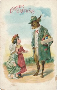 Easter Greetings - Dressed Rabbit - Colored Eggs - Children - DB