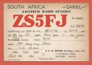 QSL AMATEUR RADIO CARD – ESCOMBE, NATAL, SOUTH AFRICA – 1948