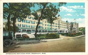 Vintage Postcard Aproahing New Ocean House Swampscott MA Essex County