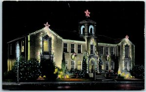 Denton, Texas Postcard City Hall / Christmas Lighting Night View Linen c1940s