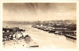 Seattle Washington~Waterfront Aerial View~Business District~1940s Real Photo PC