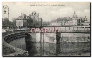 Old Postcard Chantilly Chateau La grille Honor
