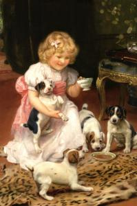 Too Hot Little Girl & Puppy Dog Tea party by Elsley Russian Modern Postcard