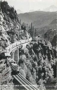 Train Entering Cheakamus Canyon Squamish British Columbia BC Real Photo