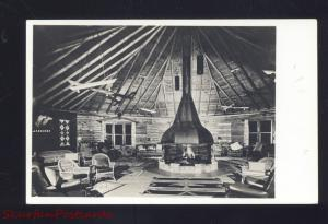 RPPC ENCAMPMENT WYOMING A-A RANCH LODGE INTERIOR REAL PHOTO POSTCARD