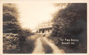 Sunset Maine~Dirt Road Thru the Forest to The Firs Hotel~1920s Real Photo~RPPC