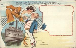 Tall Woman Bends to Kiss Short Man - Steamship Inset c1910 Postcard