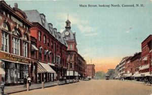 Concord New Hampshire~Main Street~Woolworth 5&10c Store~Clock~People~c1910 Pc