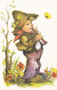 AS: Bonnie, Little Boy Playing a Flute, Butterfly Flying Around Him, 30-50´s