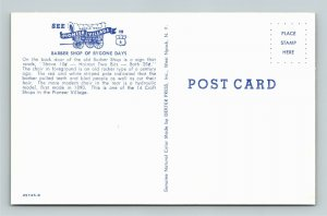 Minden NE- Nebraska, Old Timey Barber Shop, Pioneer Village, Chrome Postcard