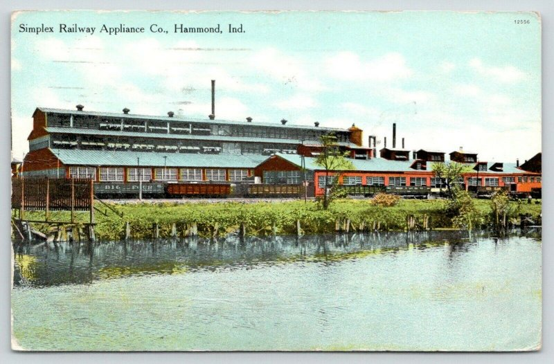 Hammond Indiana~Simplex Railway Appliance Co Factory~Train in Front~1913