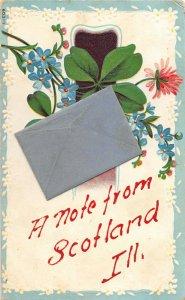 F47/ Scotland Illinois Postcard 1909 Souvenir Greetings Birds