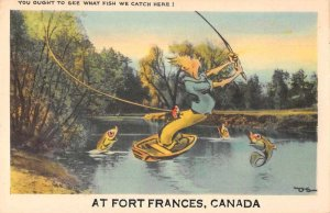 Ft Frances Ontario Canada fish eating man exaggeration antique pc ZD549392