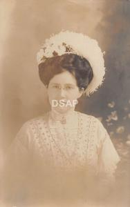 C35/ Cheboygan Michigan Mi Real Photo RPPC Postcard c1910 Pretty WOman Large Hat