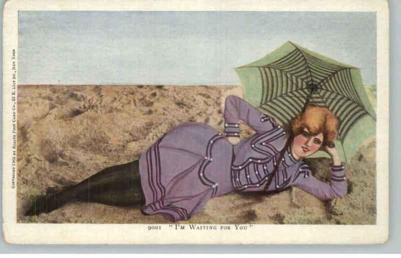 Bathing Beauty in Old Fashioned Purple Suit & Umbrella c1905 Postcard