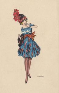 ART DECO ; Female wearing blue/red short dress, red/white scarf belt, 1910-20s
