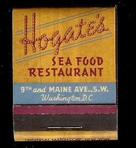 HOGATES SEAFOOD Restaurant DC 1950's Full Unstruck Matchbook