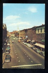 Brattleboro, Vermont,VT Postcard, Main Street, Downtown, 1950's Cars