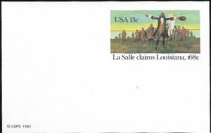 US Postcard Mint - La Salle claims Louisiana 1682.  Issued in 1982