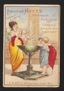 VICTORIAN TRADE CARD Hoyt's Cologne Lady & Baby 2 Girls
