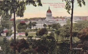 State Capitol, From Insane Hospital Grounds, AUGUSTA, Maine, PU-1914