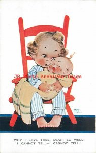 Mabel Lucie Attwell, Valentine No 1283, Girl Holding Crying Baby