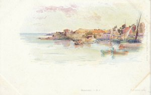 BEAULIEU, France, 1900-10s; Water-side view, Boats