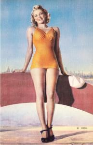 Bathing Beauty in Orange Swimsuit Leaning on Boat Linen Postcard MWM 1940s-1950s