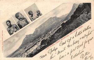 South Africa Cape Town Table Mountain and Lions Head ethnic natives postcard